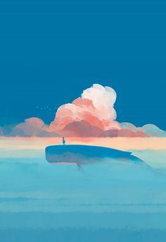 The Art Of Animation — Bangqiao Yan -. Pretty Art, Cute Art, Whale Art, Scenery Wallpaper, Anime Scenery, Art Plastique, Aesthetic Art, Art Inspo, Fantasy Art