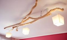 Resultado de imagen de lamparas de mesa con palos de madera diy