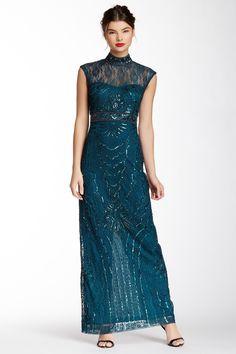 Sue Wong Long Beaded Illusion Dress