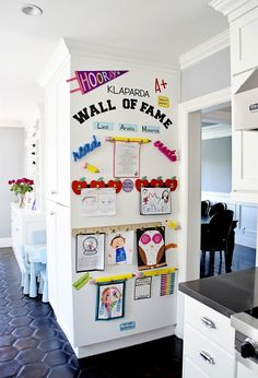 """Make a DIY Display for Your Kids' Schoolwork and Art Projects – Project Nursery My finished Kids Artwork """"Wall of Fame"""" Easy Diys For Kids, Wall Of Fame, Toy Rooms, Project Nursery, Home Organization, Artwork Wall, Art Wall Kids Display, Display Kids Artwork, Art Wall For Kids"""