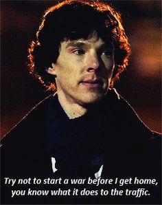 """""""Try not to start a war."""" Sherlock to Mycroft"""