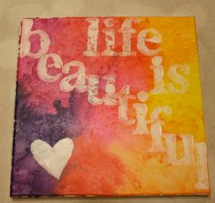Life is Beautiful  Melted Crayon Art by ColourInspiration on Etsy, $38.00