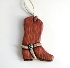 Hand Carved Cowboy Boot Ornament Rustic Red by TaterSoup on Etsy