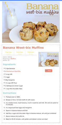 Banana Weetbix muffins - leave out the sugar and chocolate chips for younger kiddies and use gluten free week bix Lunch Box Recipes, Lunch Snacks, Baby Food Recipes, Sweet Recipes, Cooking Recipes, Lunchbox Ideas, Cupcakes, Banana Recipes, Healthy Treats