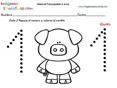 Cuadernillo complementario para 4 años, Educación Preescolar (2) Activity Games, Preschool Activities, Numbers Preschool, Writing Numbers, Animal Crafts, Worksheets, Hello Kitty, Kindergarten, Classroom