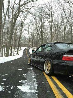BMW E36 3 series black deep dish slammed