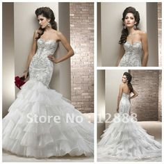Ivory Organza Silver Decoration Sweetheart Mermaid Wedding Dress