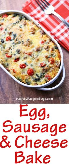 Egg, Sausage and Cheese Bake keto pescatarian recipes; Healthy Breakfast Casserole, Delicious Breakfast Recipes, Low Carb Breakfast, Breakfast Dishes, Brunch Recipes, Yummy Food, Healthy Food Blogs, Healthy Baking, Healthy Recipes