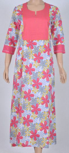 Long gown cotton Nightie blue base floral pink pattern three-fourth sleeve  Pink Patterns 573baaf03