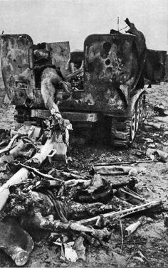 Burnt Sd. Kfz. 11 armored personnel carrier and its crew