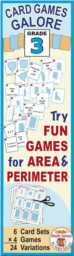 This versatile bundle contains six third grade area and perimeter card sets to print. Students will enjoy learning as they match models, expressions, and numbers during fun, familiar games. These are great for all ability levels. ~by Angie Seltzer