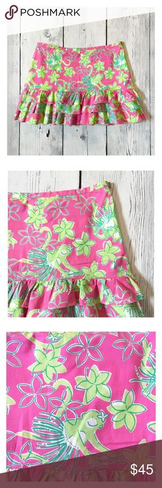 "🔴Lily Pulitzer Monkey Hula skirt 6 Monkeys and Hula Skirts!! Doesn't get much better than this!! Excellent Pre Owned condition. The only flaw is the threads where the eyelet hook attaches have come loose but it's a super easy fix!! Fully lined. 3 tier Ruffles. Hidden side Zipper. 97% Cotton, 3% Spandex. Waist flat 15.5"", length 14"". Lilly Pulitzer Skirts Mini"