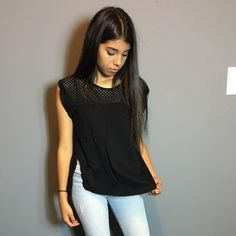Beautiful black blouse with side slits His blouse is very cute and looks very cute with some jeans on. Had some slits on the side of blouse that are pretty high up. Work a couple times but in really great condition. It has short sleeves and material is very soft Banana Republic Tops Blouses