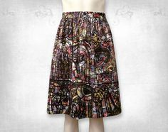 Stained Glass screenprinted cotton skirt by FollyandFoible on Etsy