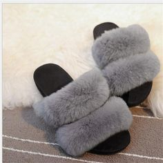 Women Big Rabbit Fur Shoes Flats Super Slippers Winter Soft Warm Pink Gray Non-slip Outdoor fur Slides Slippers Zapatos Mujer