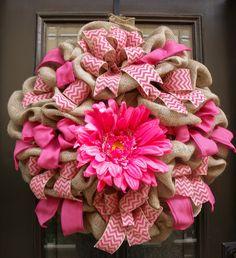 Door Wreath Summer, Chevron Burlap Wreath, XXL Burlap Wreath, Summer Wreaths, Hot Pink Daisy Wreath