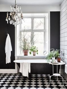 Black walls: it seems like people either love them or hate them. A black walled interior is certainly a bold design choice and not for everyone. Black walls command attention in the most dramatic of ways. They absorb a lot of natural light, so beRead Bathroom Tile Designs, Bathroom Interior Design, Decor Interior Design, Bathroom Ideas, Interior Office, Interior Ideas, Bathrooms Decor, Bathroom Goals, Bathroom Trends