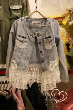 Lace spciling denim coat - US$ 112.58    I can so make this with scrap lace and a coat I already have for free!  yay!!