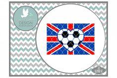 UK Football Flag with Football Heart UK British Football Cutting File LL152C  SVG DXF EPS AI JPG PNG from DesignBundles.net