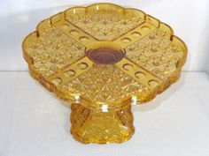 "EAPG Amber Glass ""Daisy & Button Thumbprint Panel"" Cake Stand made by Adams & Co. circa x 7 Cake Stands, Amber Glass, 9 And 10, Daisy, Button, Antiques, Pattern, Antiquities, Antique"