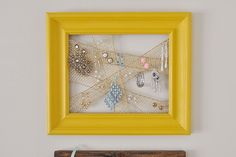 picture frame with mesh ribbon for hanging earrings