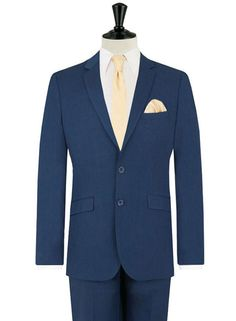 """""""Blue suits became fashionable again in 2013 when male style icons Bradley Cooper and Gerard Butler rocked blue suits at Wimbledon. """"We're getting so many orders for blue suits that we couldn't ignore the fact they're a serious trend. The summer vibes of the blue suit are brought to life when they're paired with a classic skinny tie and pocket square – we've chosen gold to match the blue, as it's one of this season's hottest colour combos."""