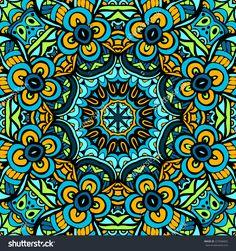 Abstract green kaleidoscopic vector ornamental seamless pattern