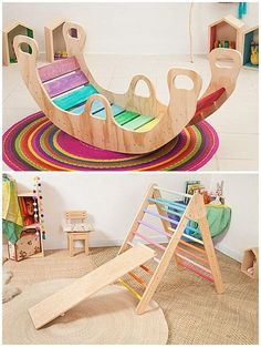 To keep kids active and moving, put some of these cool interactive wooden climbing toys in the playroom. Wiwiurka Wood makes some fantastic, innovative designs that have children climbing up handmade ramps and colorful ladders, sliding down reversible boards, and swinging from a trapeze bar. For younger children, the s