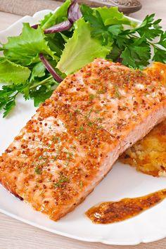 Course(s): Entrée; Ingredients: black pepper, dijon mustard, light brown sugar, salmon fillet, salt