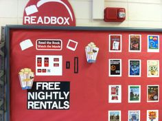"""My """"Readbox"""" for my back to school bulletin board to advertise the Media Center."""