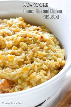 One bite of this Slow Cooker Cheesy Rice and Chicken Casserole will have you adding it to your dinner menu rotation. It's creamy and cheesy and amazing.
