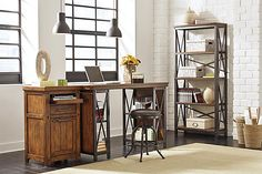 """The Shayneville 54"""" Home Office Counter Height Desk from Ashley Furniture HomeStore (AFHS.com). With the rich rustic finish beautifully covering the framed and plank detailing all perfectly complementing the gun metal color finished tubular metal X-brace designed frames, the """"Shayneville"""" home office collection captures the essence of Vintage Casual style to create the perfect home office décor."""