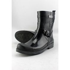 Coach Lester Shiny Rubber Women US 8 Black Rain Boot Pre Owned  1260 #Coach #Rainboots
