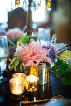 #Centerpiece + Candles for Romance | Wedding Inspiration on SMP -  http://www.StyleMePretty.com/california-weddings/orange-county/2014/01/23/downton-abbey-wedding-inspiration-at-the-french-estate/ True Bliss Photography