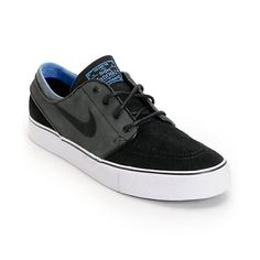The black, anthracite, and light blue Nike Janoski suede skate shoes are ready to skate on day 1 thanks to it's low profile and simple design. The Stefan Janoski Nike skate sho