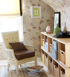 Rethink Wallpaper : Save an awkward nook with wallpaper. Extra-large patterns work well to keep the look uncluttered, and the same paper used from floor to sloped ceiling helps unite the space. :: i LOVE the way this room's walls look. :3