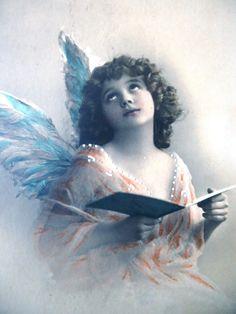 Antique angel postcard Little girl child Hanni by LizKnijnenburg