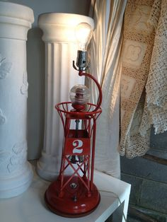 Vintage Red Metal Nautical Buoy Lighthouse Lamp