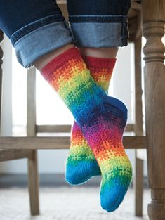 PURCHASED pattern - KNIT - Somewhere Socks Knit Pattern ~ simple technique of slipping stitches to give appearance of stranded colorwork ~ no wrapped stitches ~ charted and written instructions Crochet Socks, Knitted Slippers, Knitting Socks, Crochet Clothes, Hand Knitting, Knit Crochet, Knit Socks, Striped Socks, My Socks