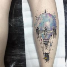 Watercolor hot air balloon by Felipe Mello