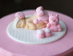 Fondant baby topper - fondant baptism cake topper - baby cake topper - fondant christening topper - fondant bear - first birthday cake Baby Cake Topper, Fondant Cake Toppers, Fondant Cakes, Fondant Bow, 3d Cakes, Fondant Tutorial, Fondant Flowers, Torta Baby Shower, Baby Mold