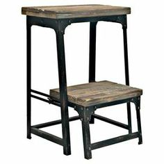 "Adjustable reclaimed wood and metal step stool.  Product: Step stoolConstruction Material: Metal and reclaimed woodColor: Distressed black and brownFeatures: Adjustable stepDimensions: 21.75"" H x 15.75"" W x 15.75"" D"