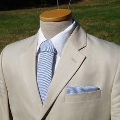 Men's Tie  Navy Blue Seersucker by HandmadeByEmy on Etsy, $59.50