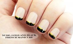 nude, black and gold french manicure