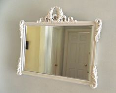 Vintage White Shabby Chic Mirror Wood Frame Ornate Large