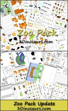 Free Zoo Pack and Zoo Pack Update for ages 2-8 from 3 Dinosaurs