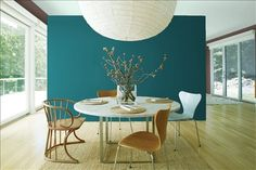 Look at the paint color combination I created with Benjamin Moore. Via @benjamin_moore. Background Wall: North Sea Green 2053-30; Side Wall: Wood Grain Brown 2109-30; Ceiling: Palladian Blue HC-144.