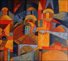 Paul Klee - Temple Garden, 1920 (composite) Kandinsky, Miro Paintings, Abstract Paintings, Indian Paintings, Landscape Paintings, Famous Modern Art, Paul Klee Art, Art Ancien, Surrealism Painting