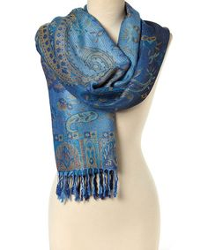 Another great find on #zulily! Navy Metallic Paisley Fringe Scarf #zulilyfinds