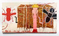"Rose Wylie Rose Wylie ""Black Strap (Red Fly)"" 2014, Öl auf Leinwand, 184 x 332 cm"